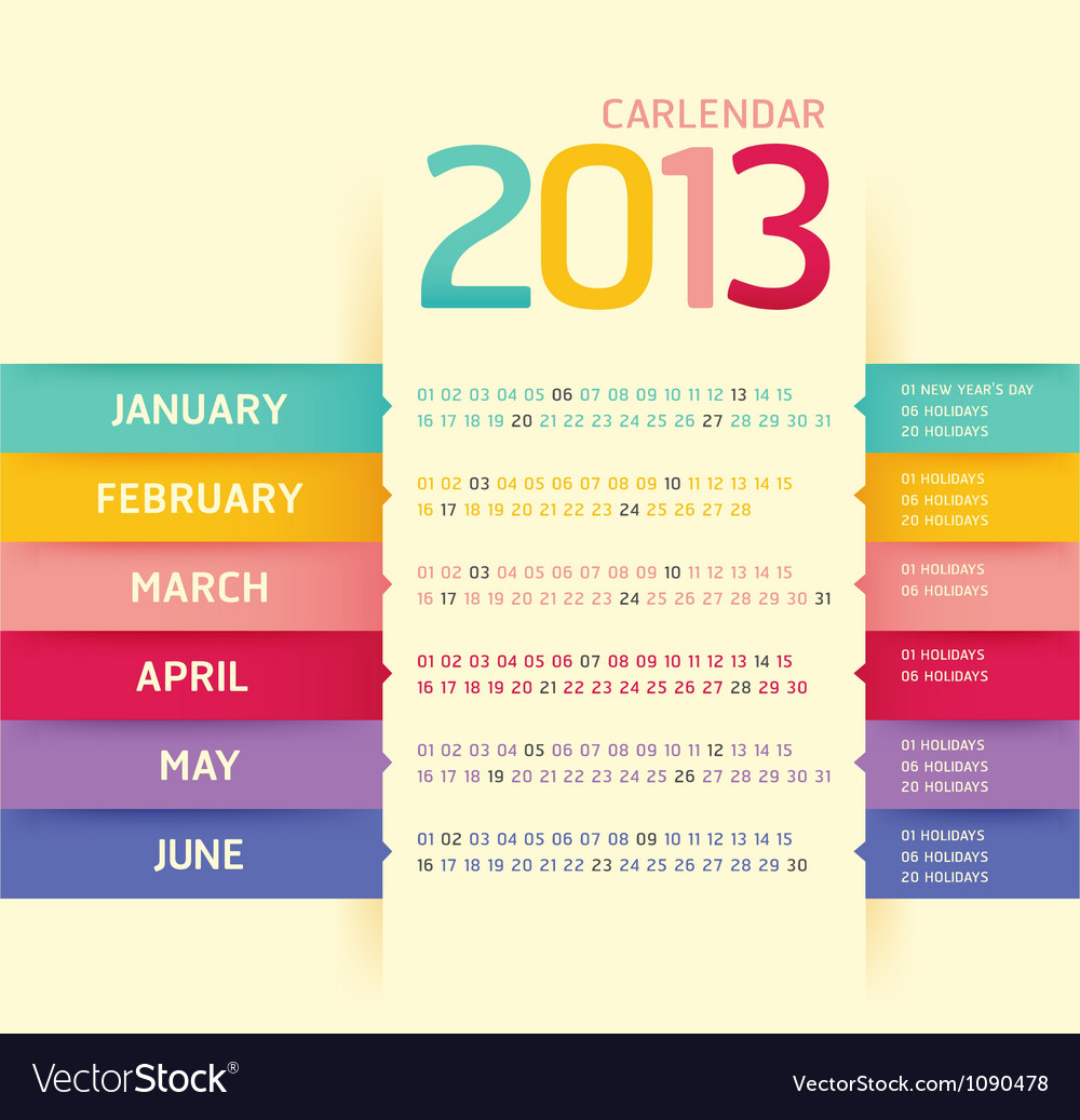 Calendar 2013 modern soft color