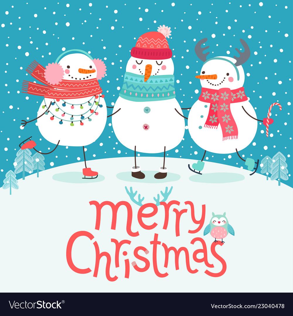 Cute Snowmen Hugging Merry Christmas Card Vector Image