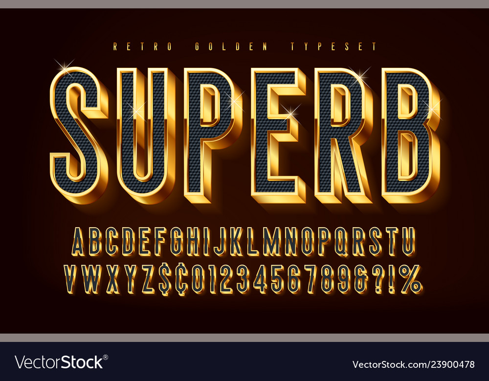 Golden 3d shining font gold letters and numbers