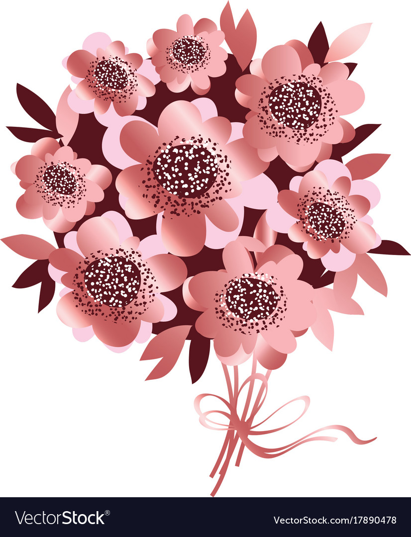 Rose Gold Color Flower Bunch Royalty Free Vector Image