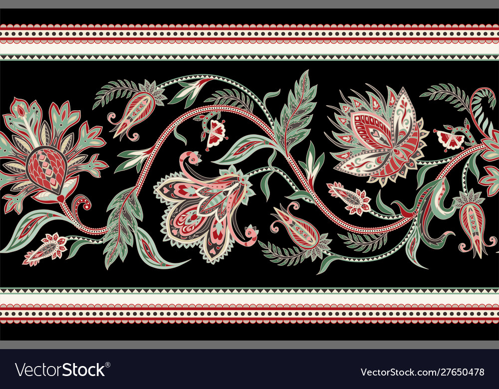 Seamless border with ethnic ornament elements and