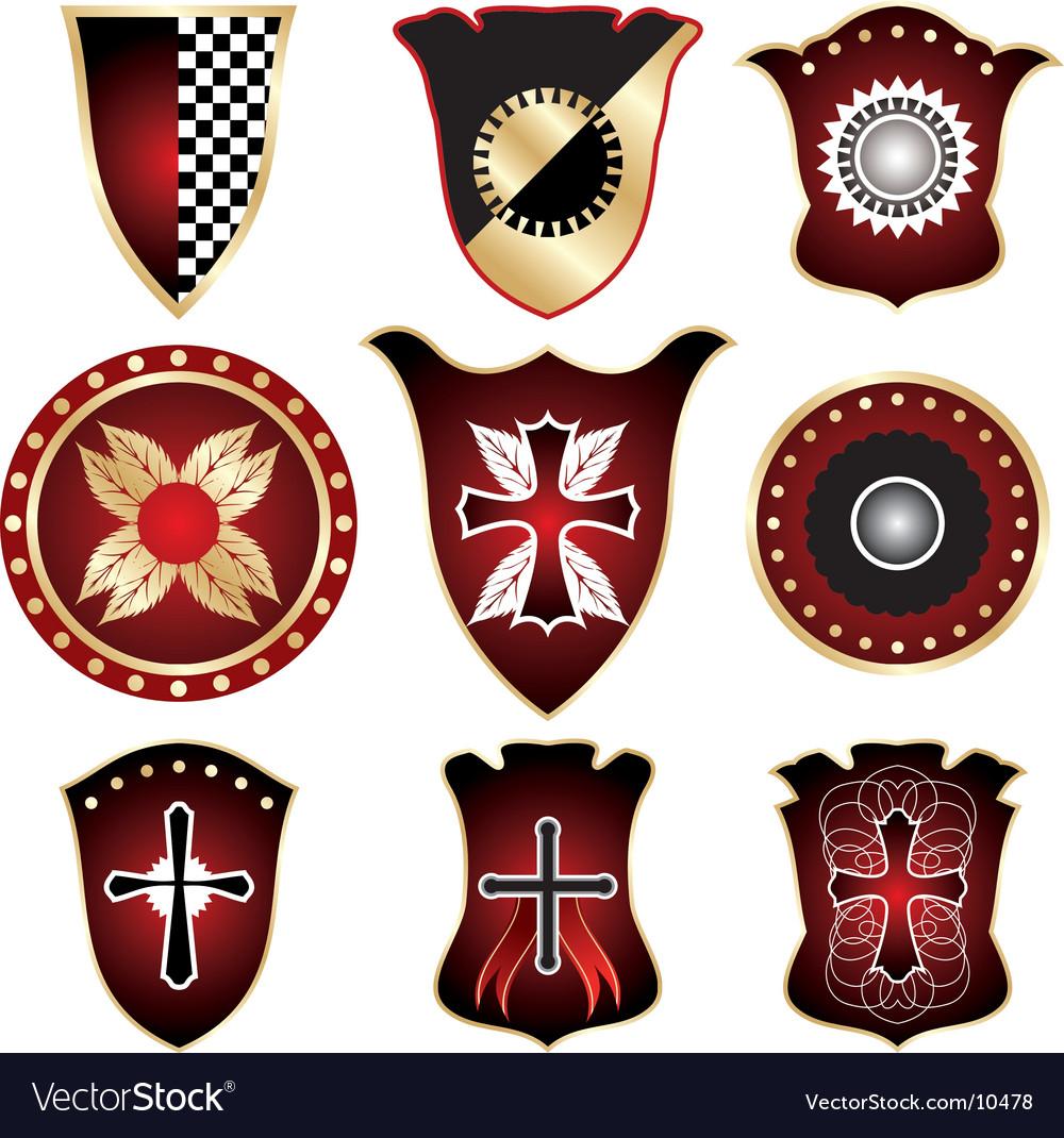 Shield elements for design vector image