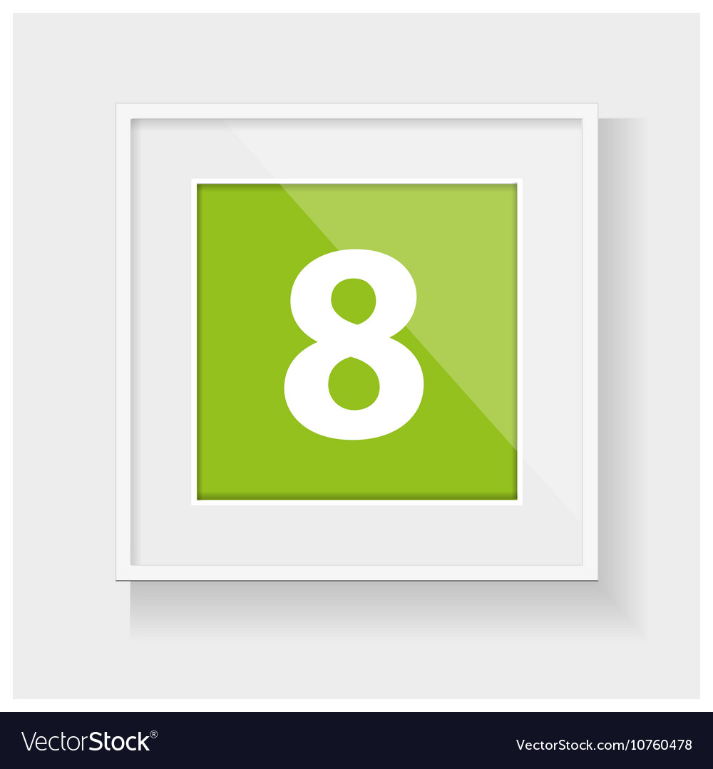 Square frame with number eight Royalty Free Vector Image