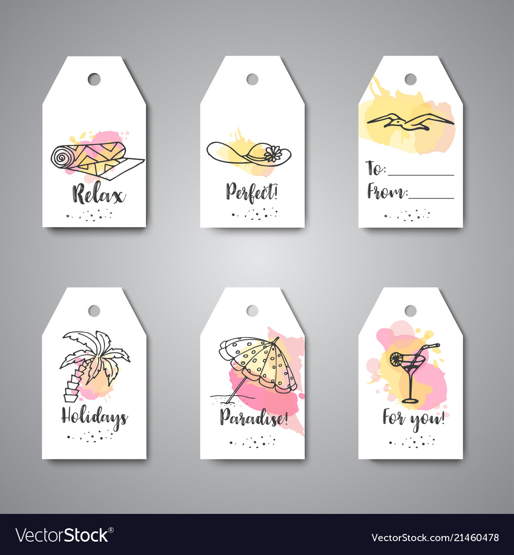 Summer hand drawn gift tags beach doodle elements