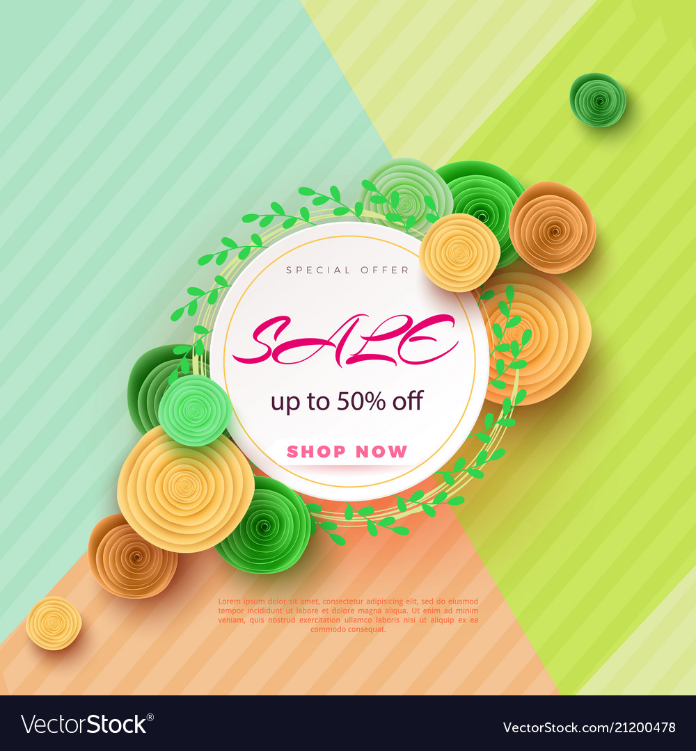Summer sale banner with paper flowers on a light