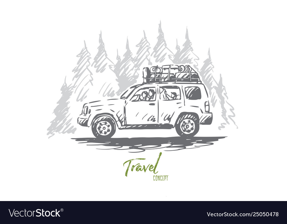 Travel car forest trip adventure concept