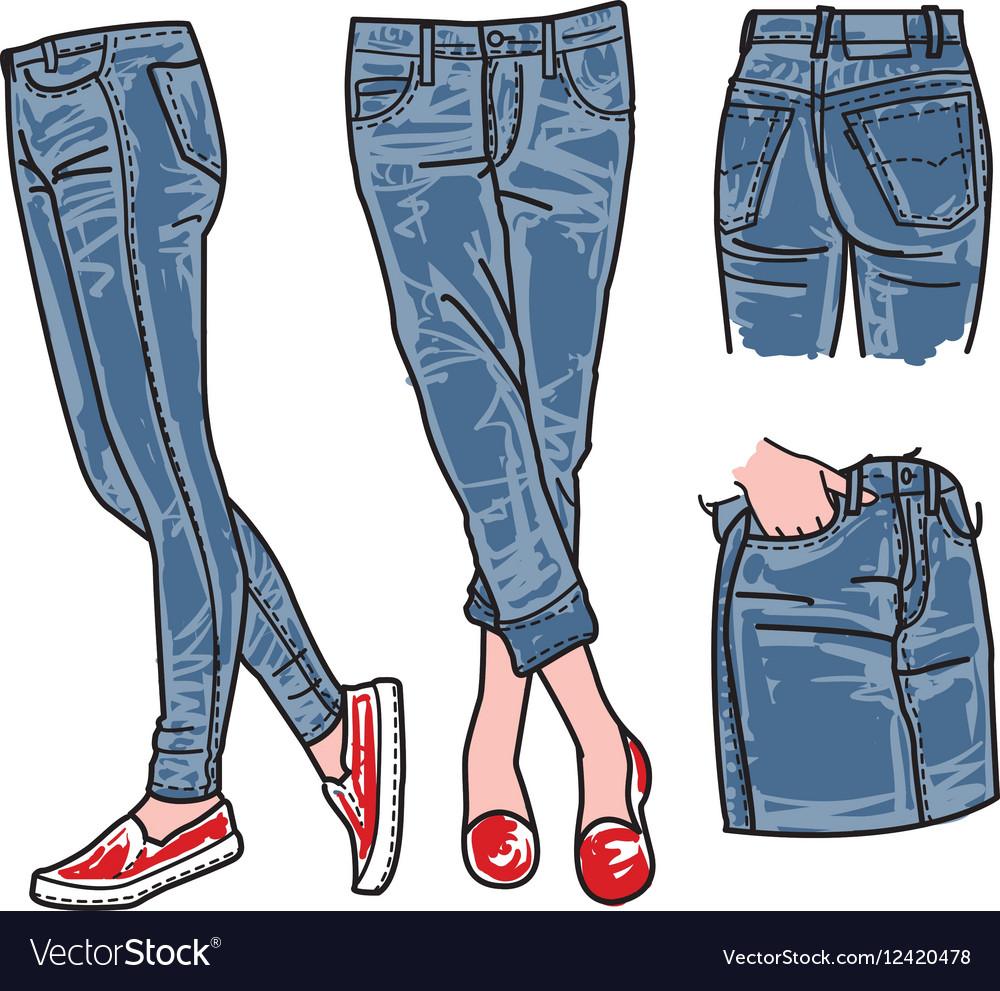 Woman jeans denim clothes