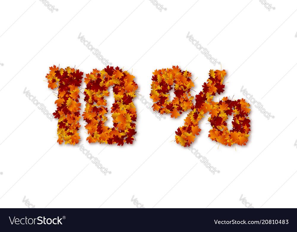 10 percent autumn leaves sale sign