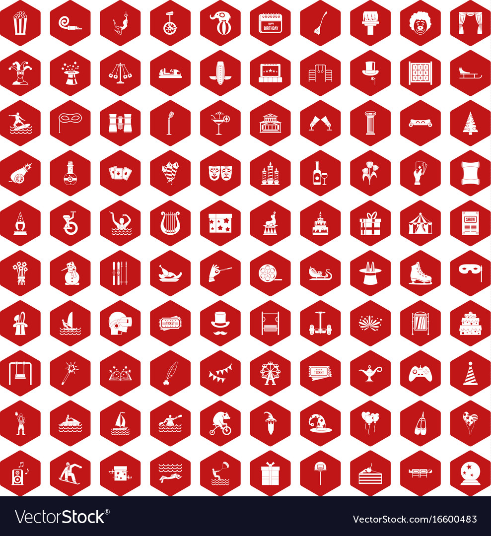 100 amusement icons hexagon red