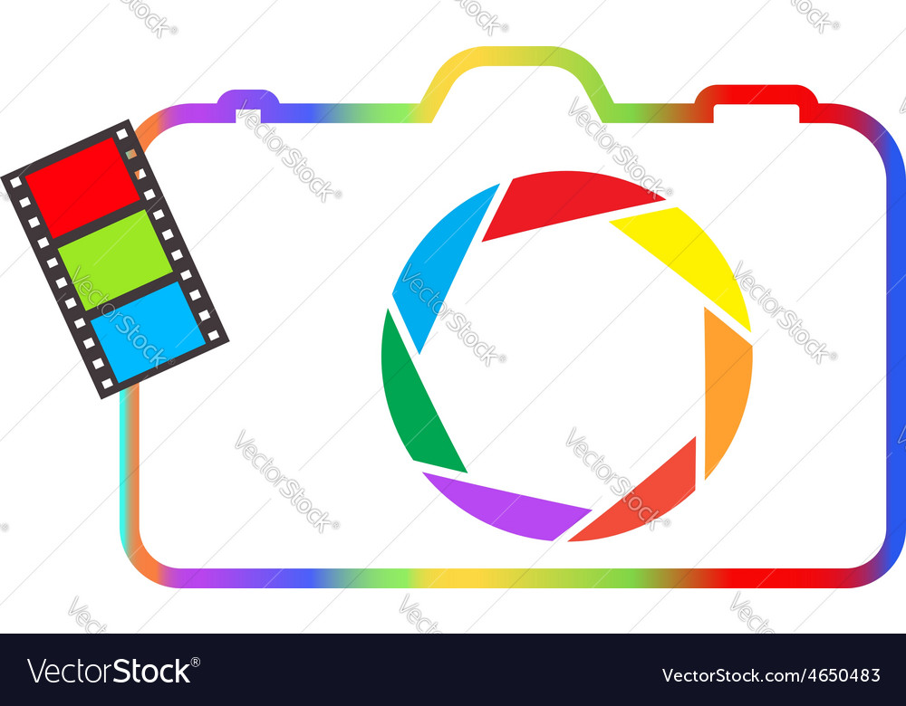 Abstract colorful camera on a white background