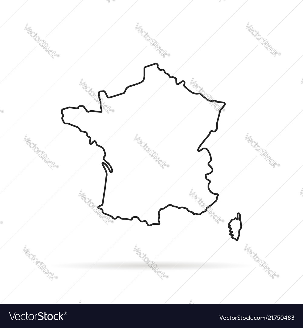 Black Outline Hand Drawn Map Of France Royalty Free Vector