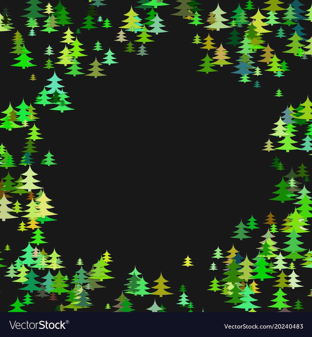 Color pine tree forest round frame design