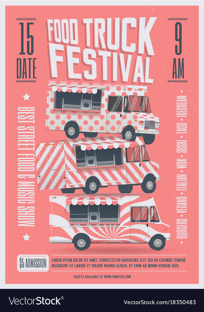 Food Truck Festival Poster Flyer Template Vector Image - Food truck flyer template