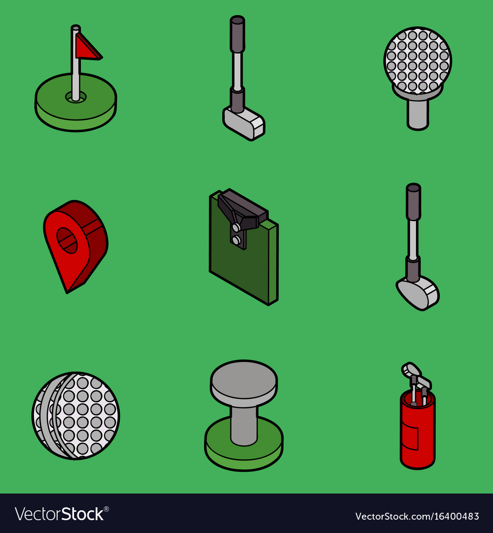 Golf flat outline isometric set vector image