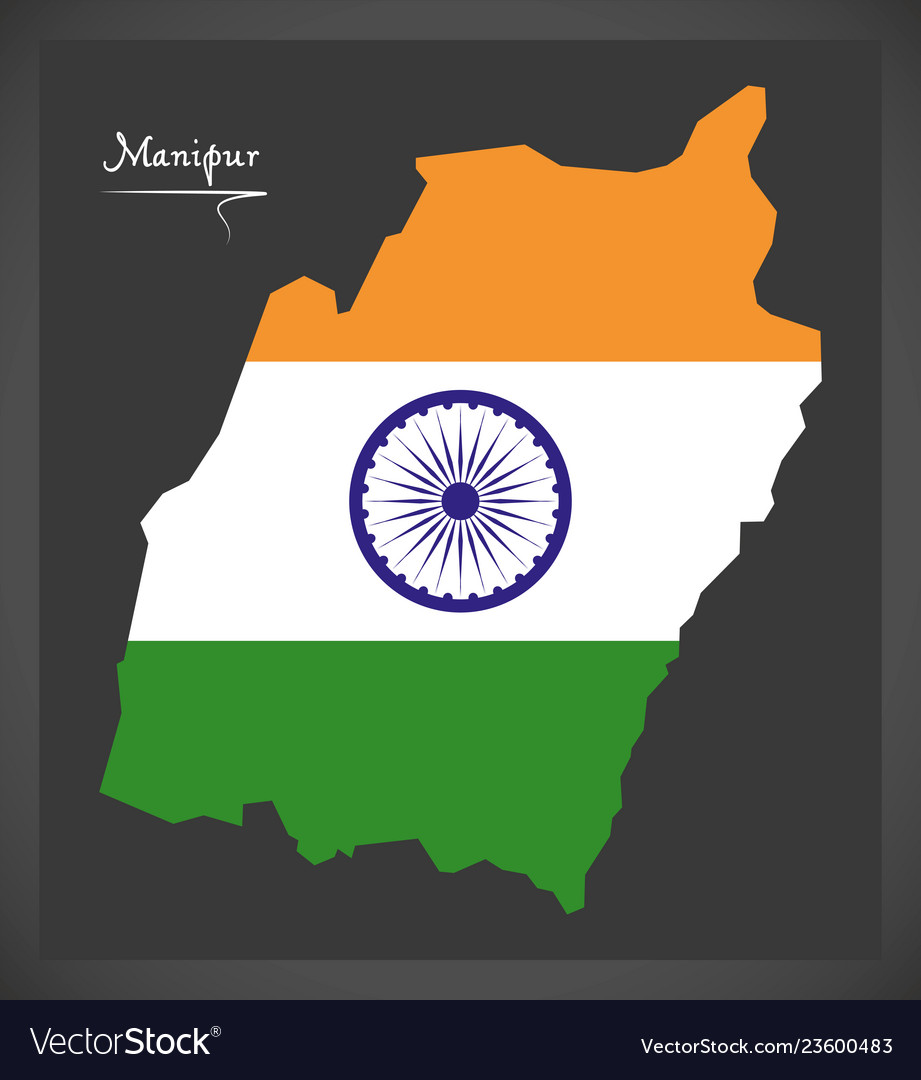 Manipur map with indian national flag