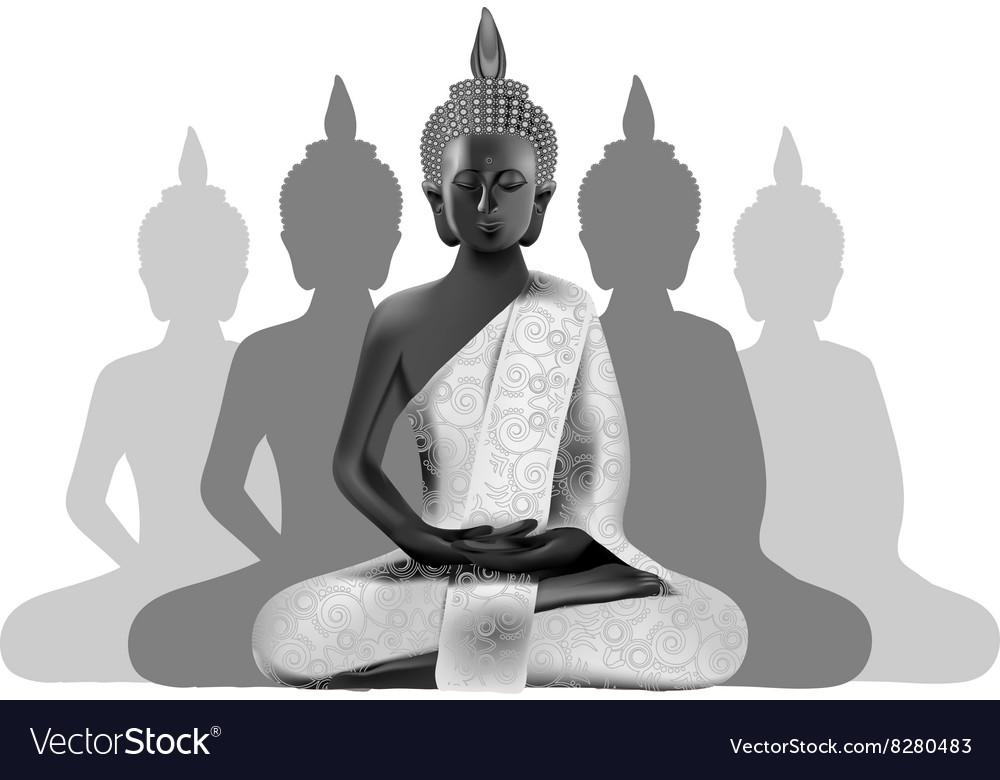 Meditating Buddha posture in silver