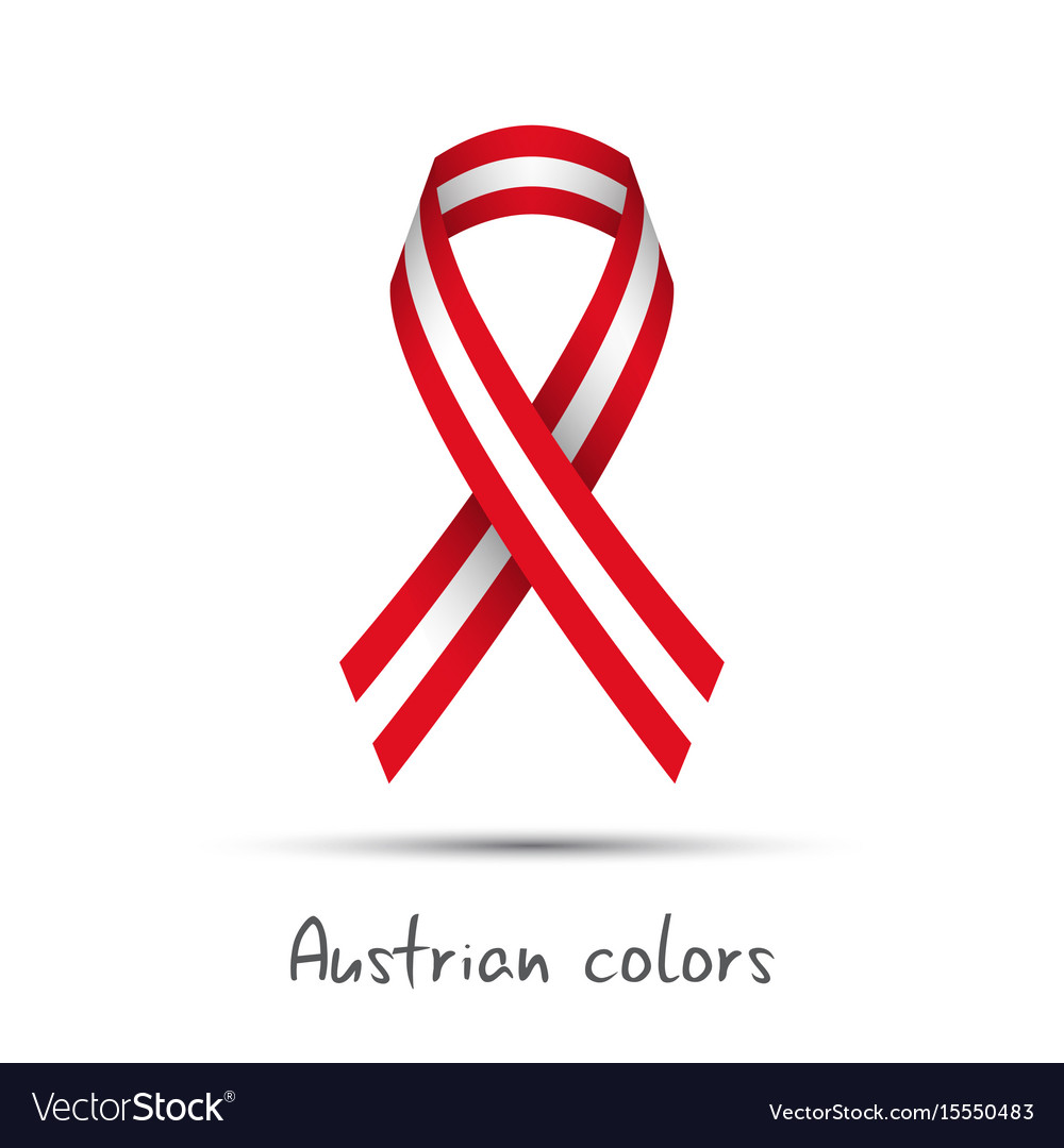 Modern colored ribbon with the austrian colors