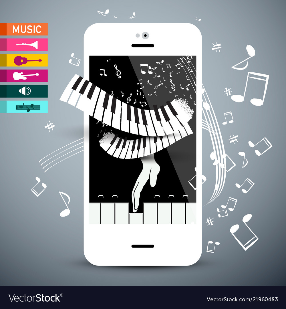 Music icons with keyboard app on cellphone
