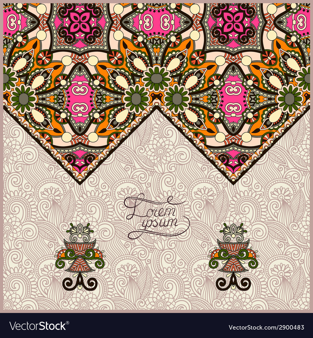 Oriental decorative template for greeting card or