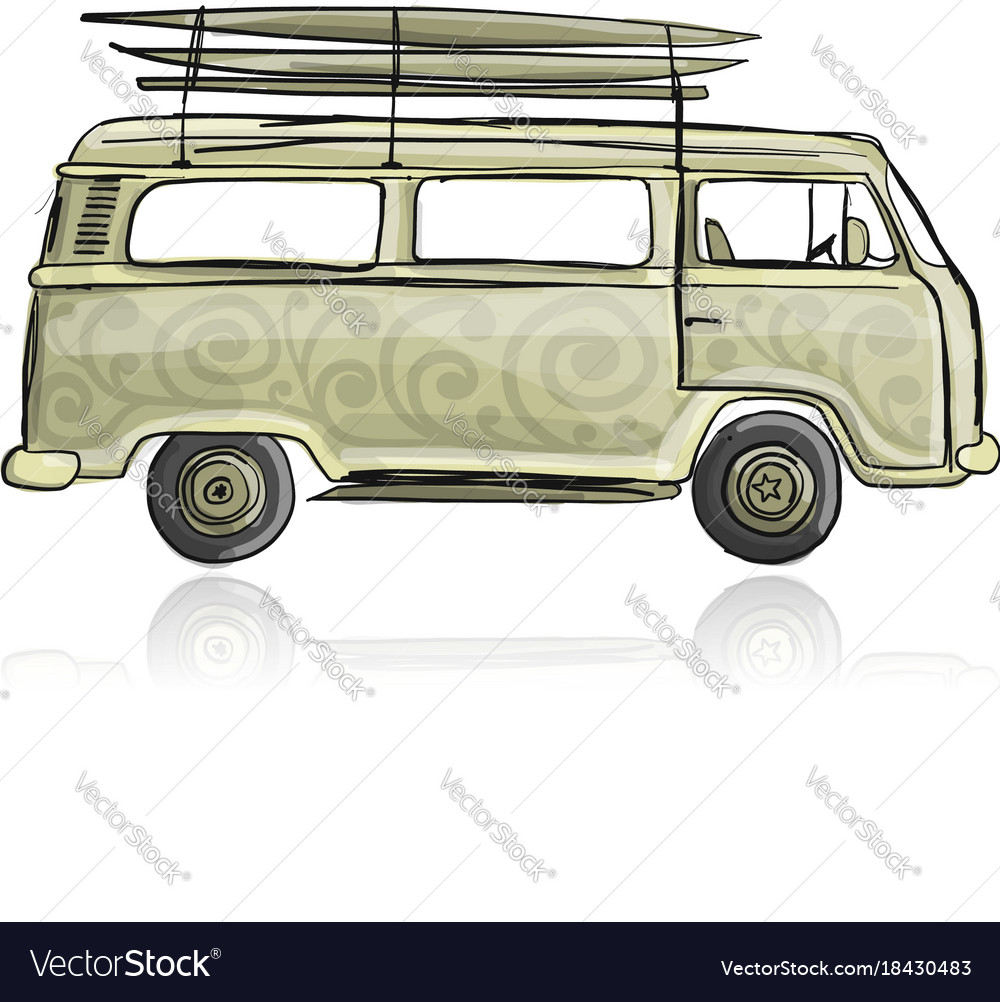 Retro bus with surfboards sketch for your design