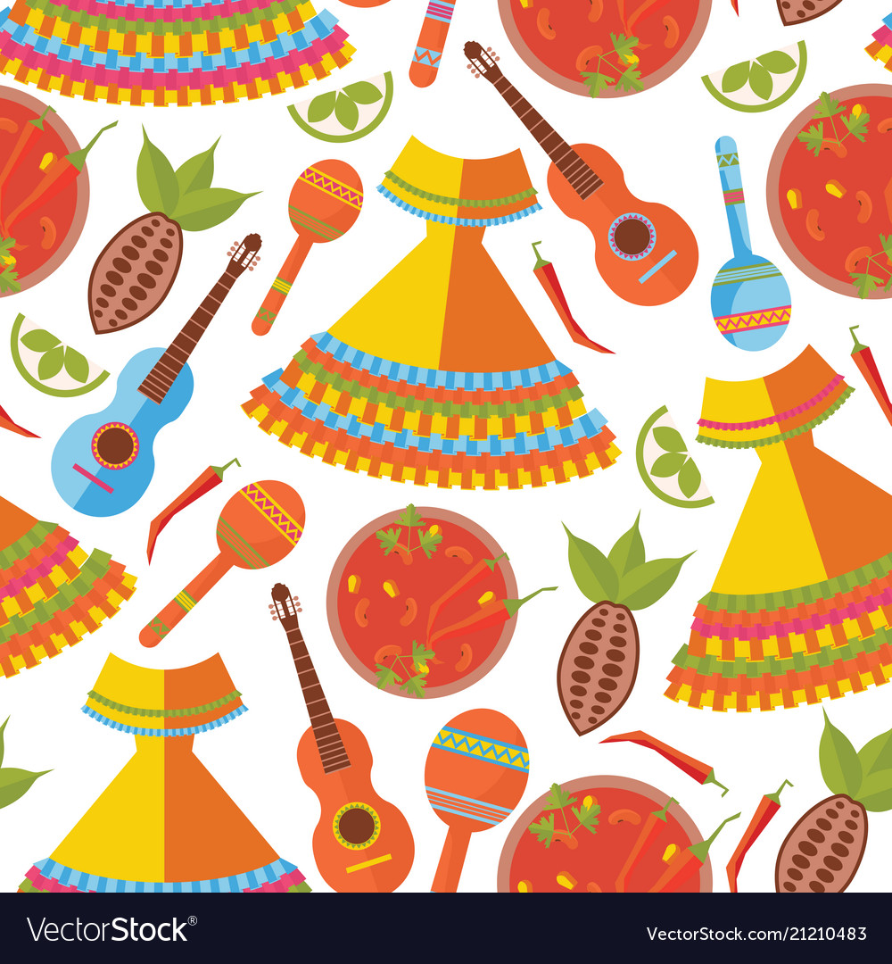 Seamless pattern on white background mexican