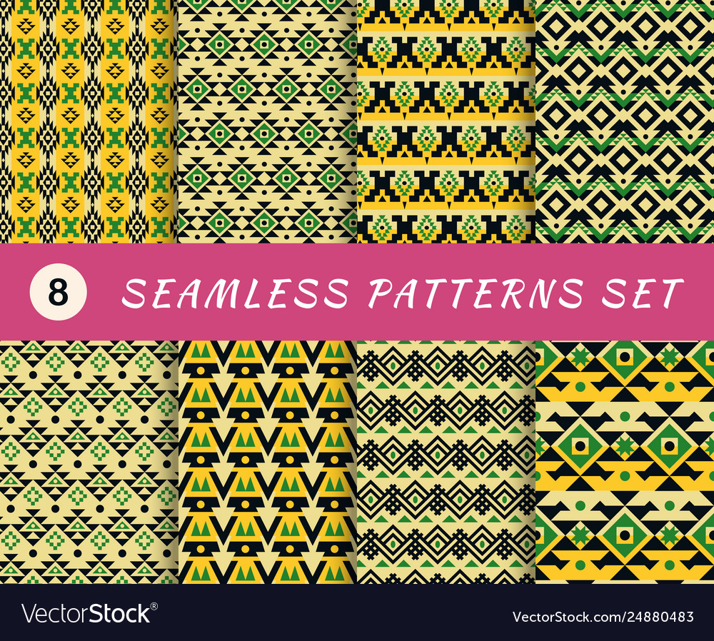 Seamless patterns set with endless mexican or