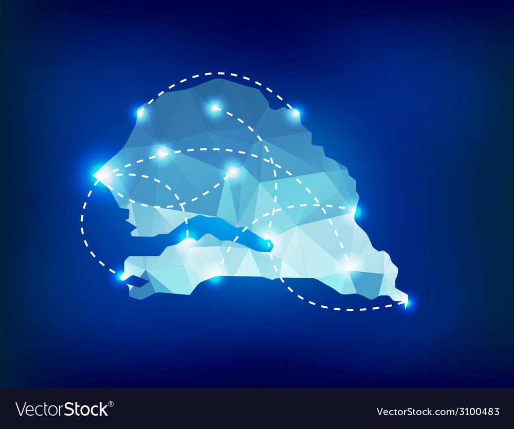 Senegal country map polygonal with spot lights pla