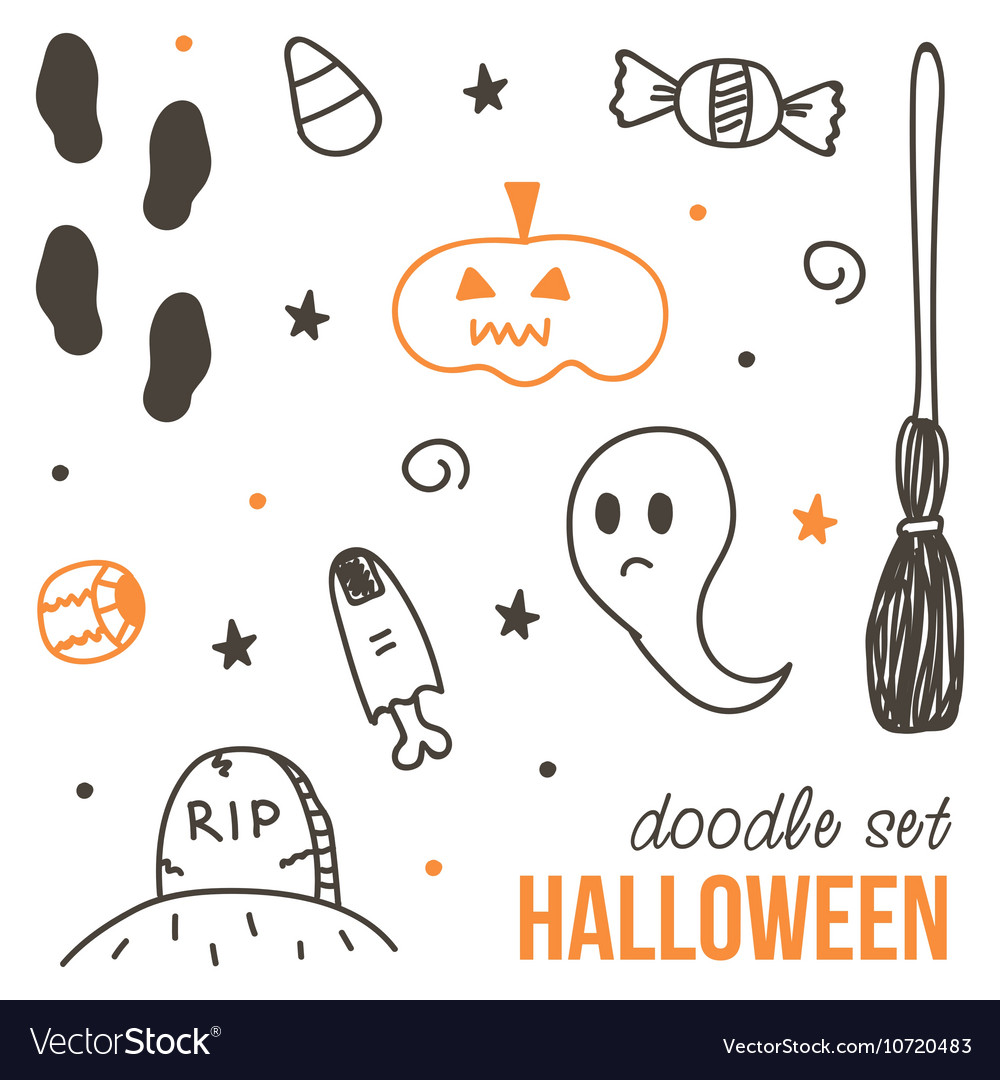 Set of cute black and orange halloween doodles