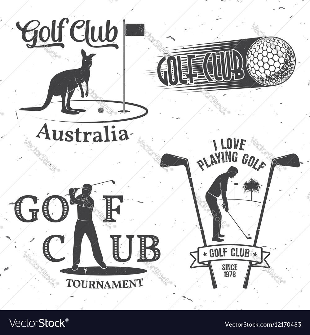 Set of Golf club concept with golfer silhouette