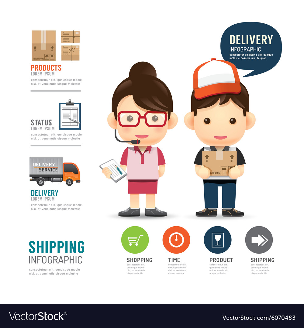 Shipping infographic with people delivery service