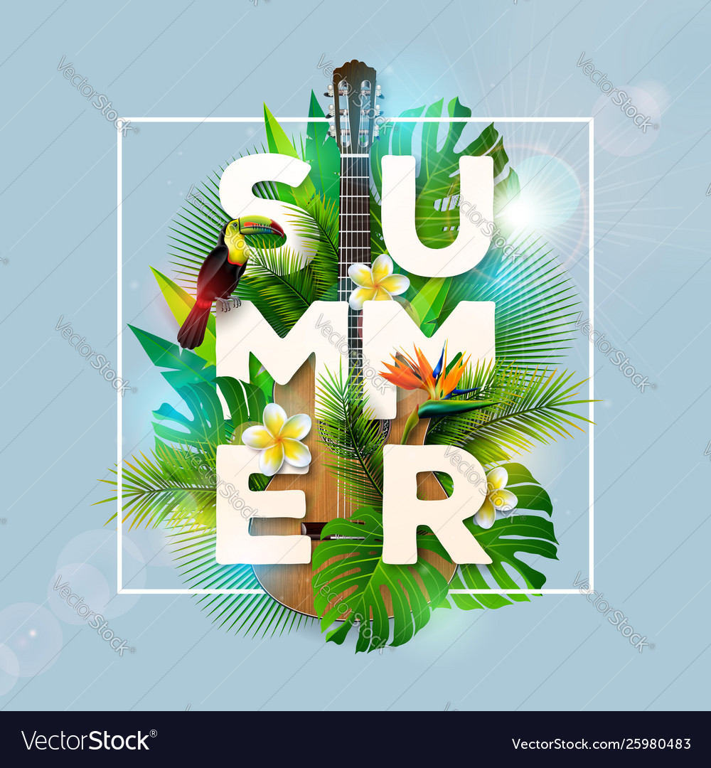 Summer holiday design with toucan bird parrot