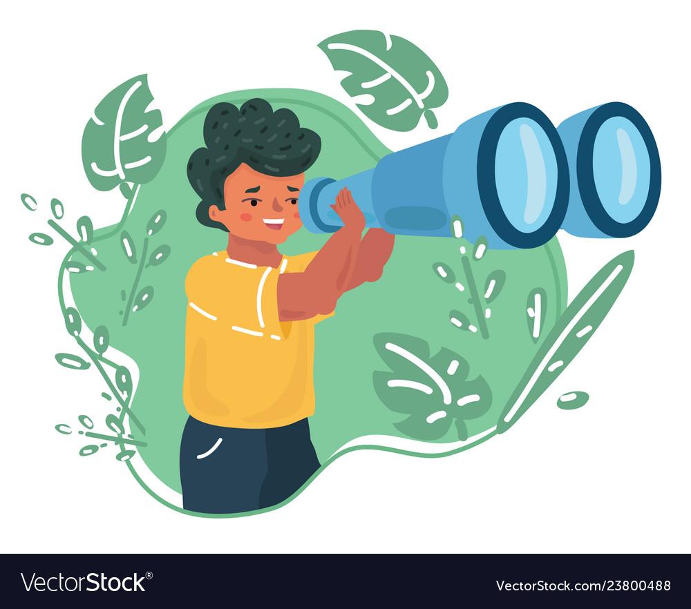 Boy is looking through binocular