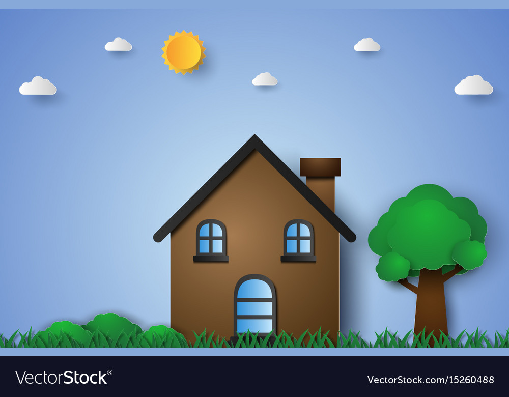 House in green field with grass and tree paper vector image