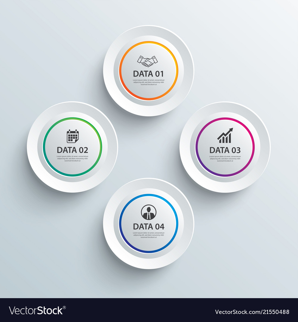Infographics circle paper with 4 data template