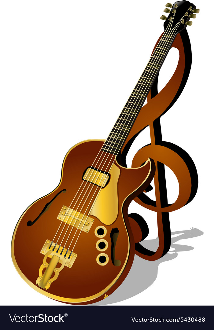 Jazz guitar with a treble clef and shadow