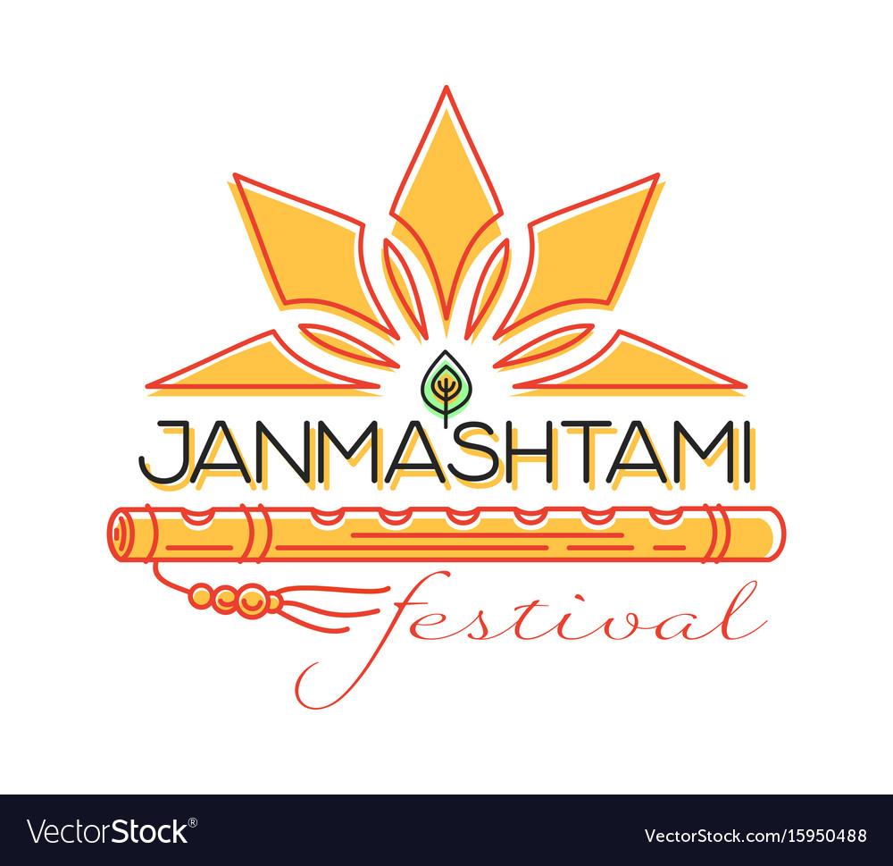 Krishna janmashtami festival concept logo design