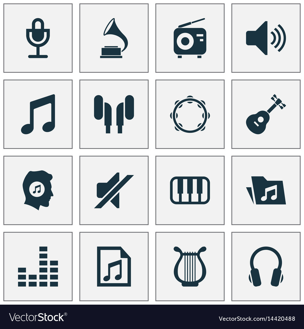 Music icons set collection of earmuff equalizer