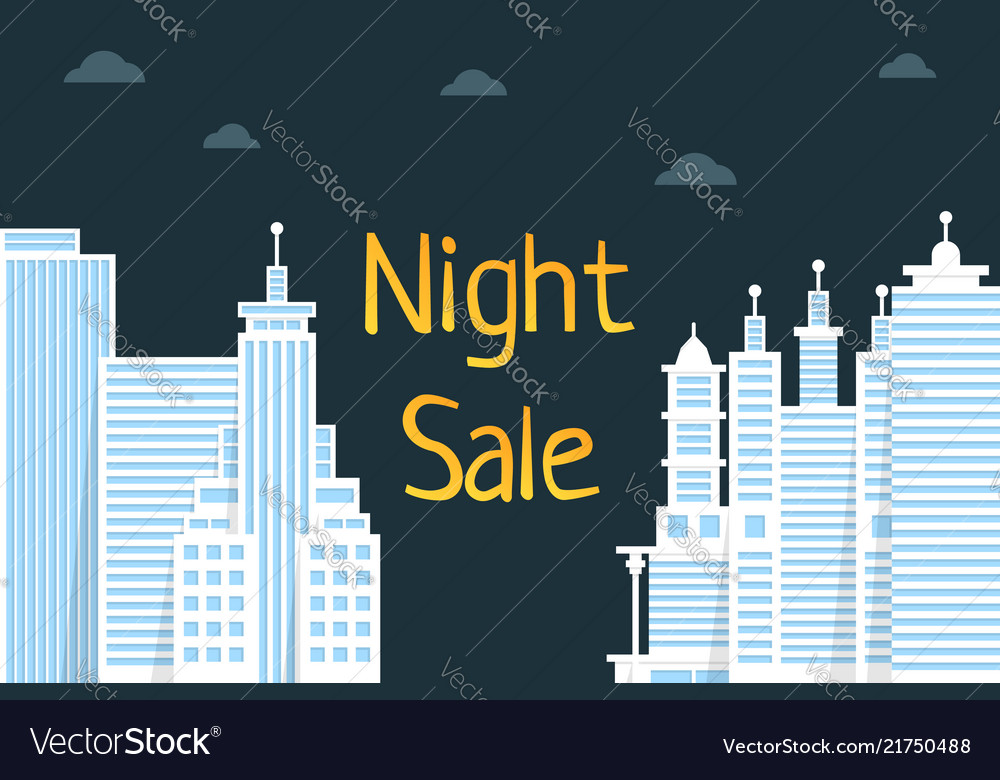 Night sale with flat style city