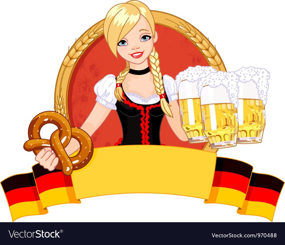 Oktoberfest girl design vector image
