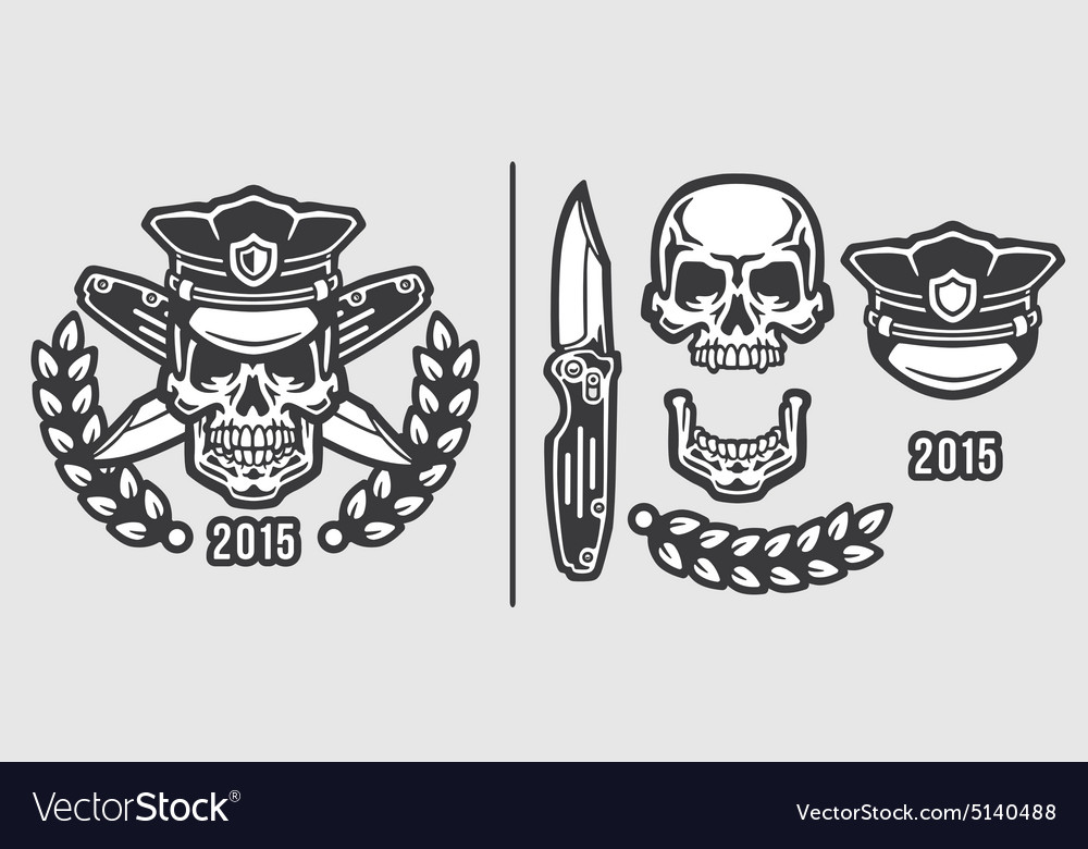 Skull Policeman Head in Cap with Crossed Knives