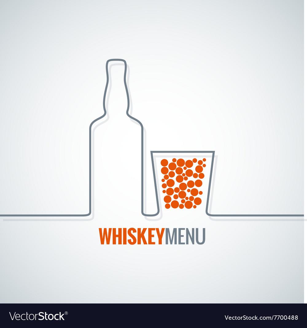 Whiskey glass bottle line design background