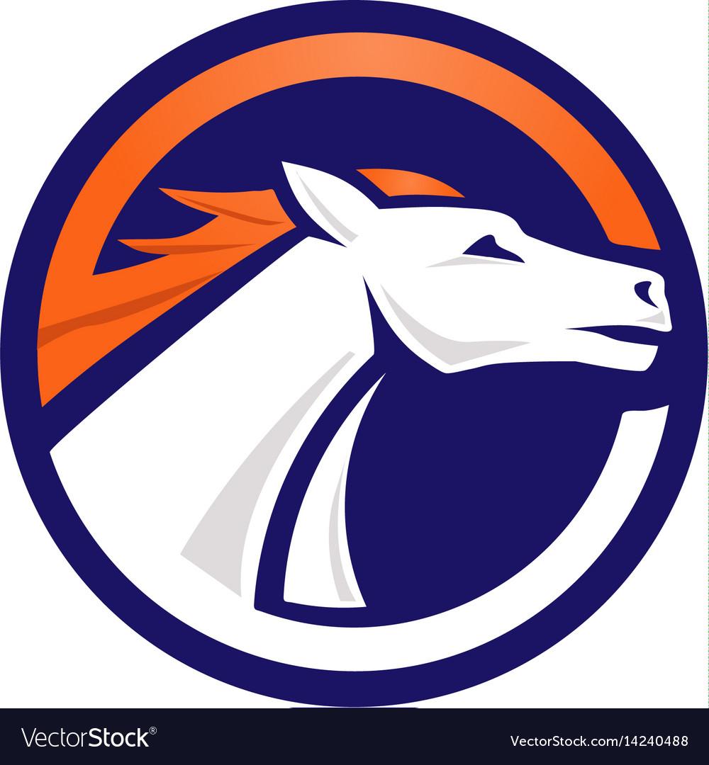 White horse logo circle vector image
