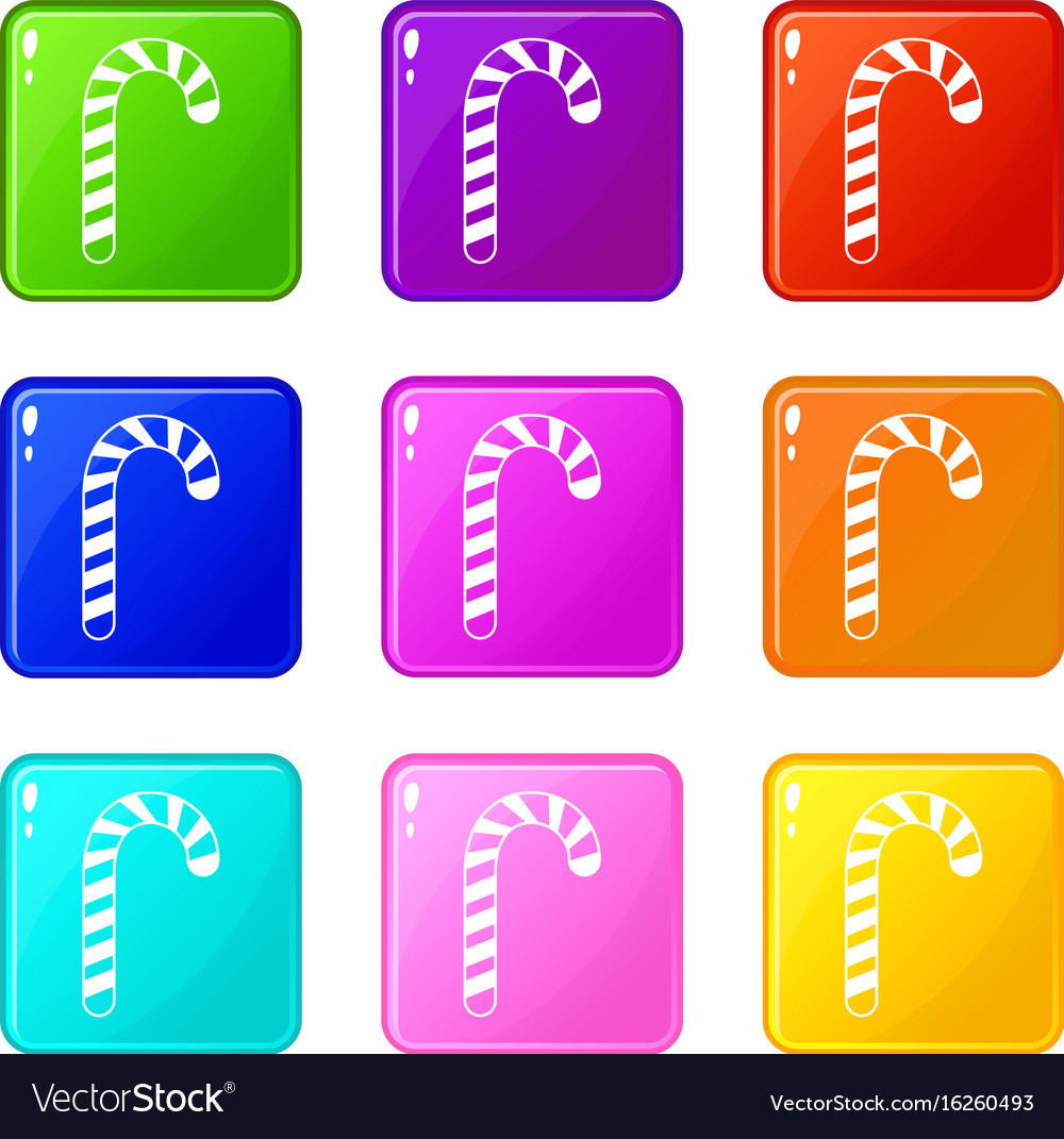 Candy cane set 9 vector image