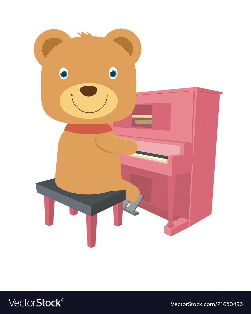 42919993c Cute brown teddy bear playing piano in flat style Vector Image