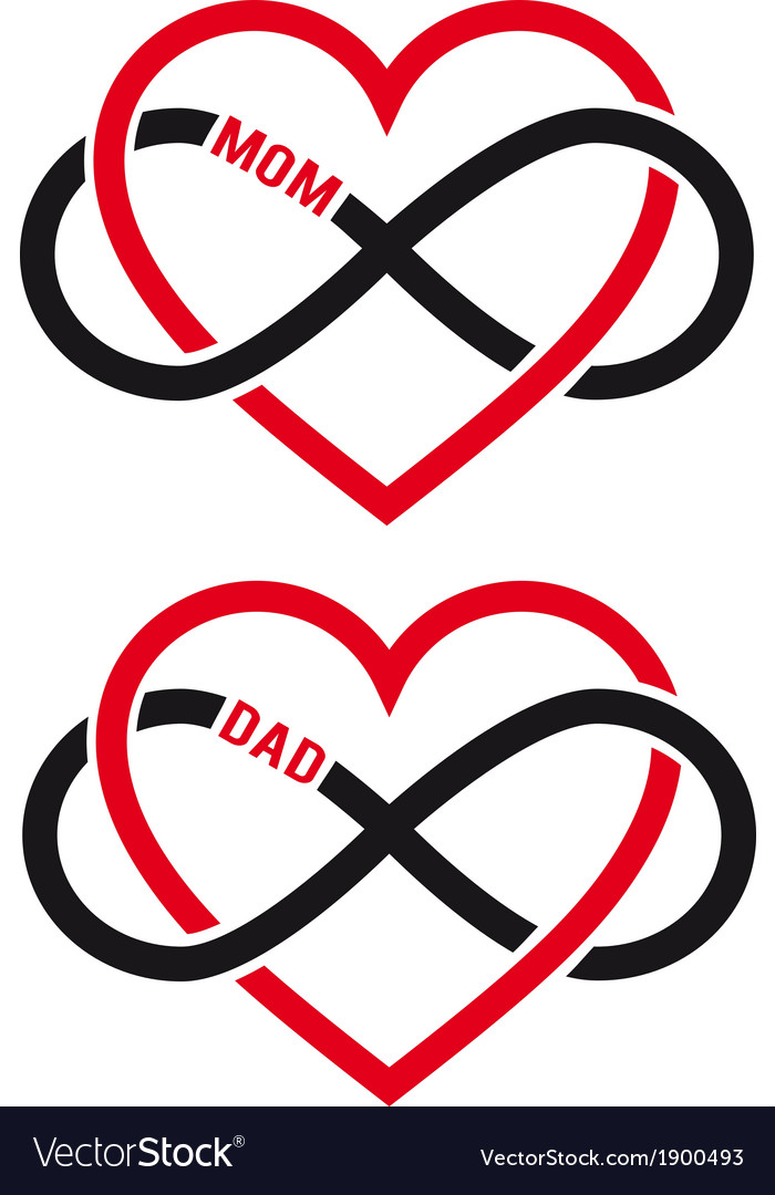 Hearts with infinity sign for mom dad set