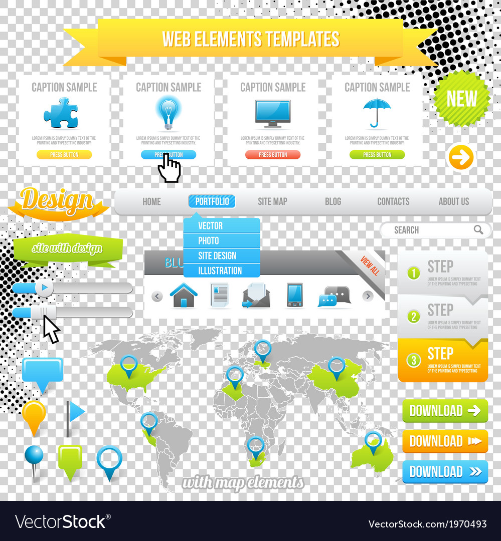 Web Elements Template Icons Sliders and Banners