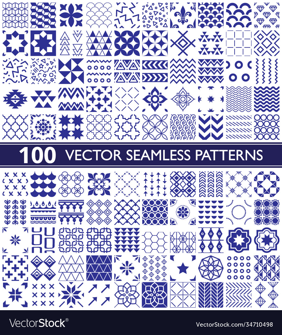 100 seamless pattern collection geometric