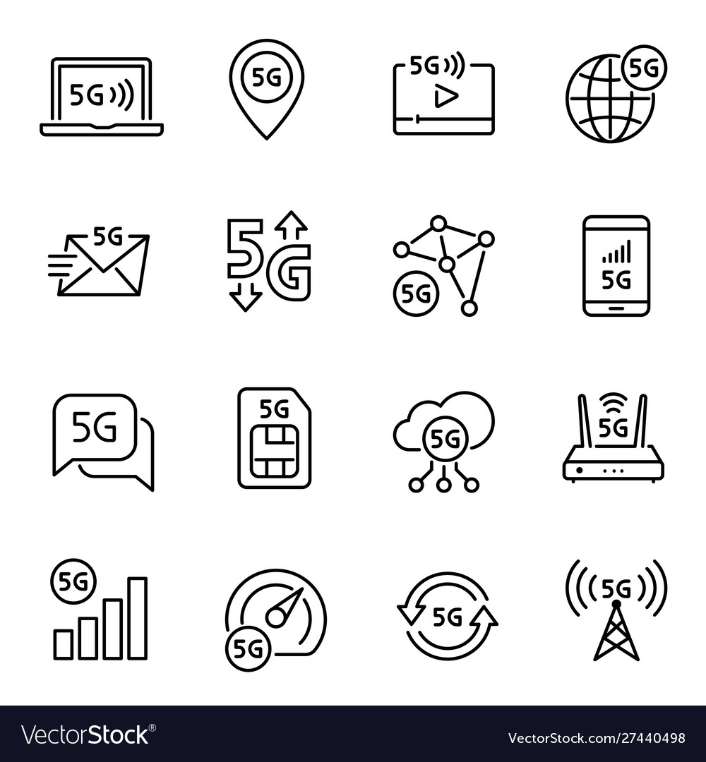 5g internet connection linear icons set