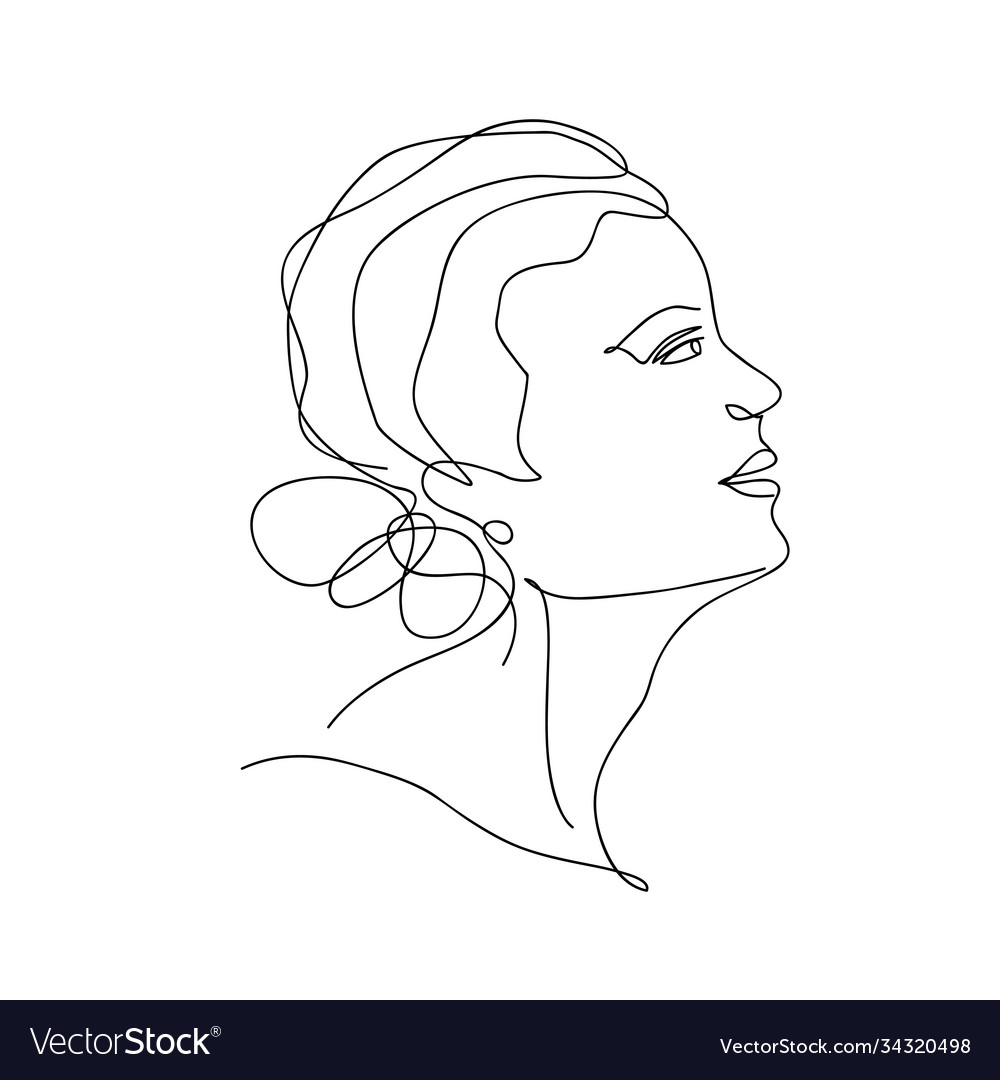 Abstract trendy one line drawing woman