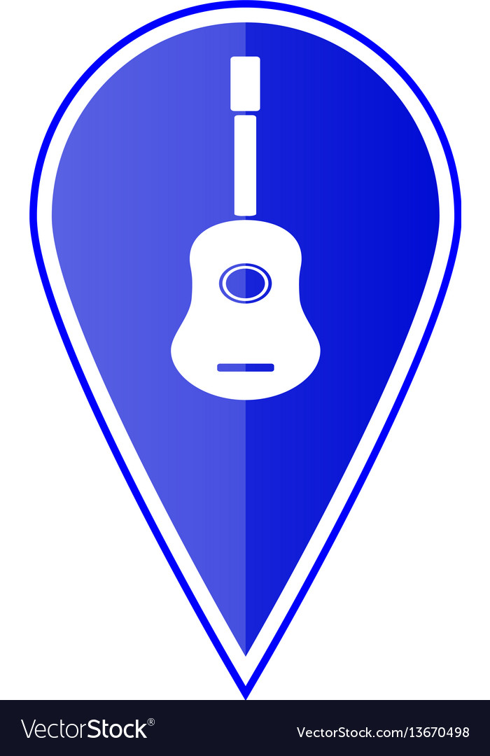 Blue map pointer with guitar